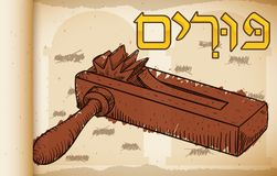 Hand Drawn Gragger over Scroll for Jewish Celebration of Purim, Vector Illustration. Banner like ancient scroll with a hand drawn gragger or ratchet over blotted Stock Photos