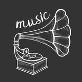 Hand drawn gramophone Stock Image