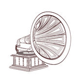 Hand drawn gramophone Stock Photography
