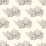 Hand drawn grape bunches and leaves seamless pattern