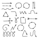 Hand Drawn Graphic Arrows. Collection of vector thin black line arrows Royalty Free Stock Photography