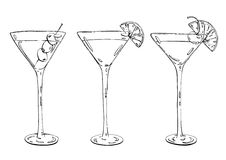 Hand drawn graphic cocktail Martini Whiskey sour Sidecar Corpse. Reviver on white background Stock Images