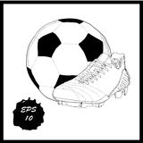 Hand drawn graphic football boots with ball on white background. Doodle Design isolated object for logo. Stock Photos