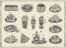 Hand drawn graphic illustration of assorted food, desserts and drinksPrint. Hand drawn graphic illustration of assorted food, desserts and drinks, vintage vector Stock Image