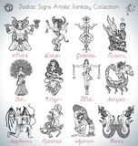 Hand drawn vector collection with fantasy Zodiac signs icons Royalty Free Stock Images