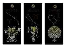 Set with Aries, Bull, Gemini Zodiac symbols banners on black Stock Images