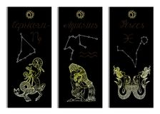 Set with Capricorn, Aquarius and Pisces Zodiac symbols banners on black Royalty Free Stock Photography