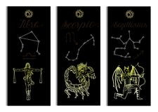 Set with Scales, Scorpio and Archer Zodiac symbols banners on black Stock Photography