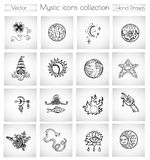 Vector doodle collection with spiritual, religious and esoteric icons and symbols. Hand drawn graphic illustrations in vintage sketchy style for cards, posters Stock Photo
