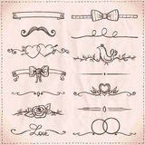 Hand-drawn graphic line elements and borders. Hand-drawn graphic line elements and borders on a paper. Eps10 Royalty Free Stock Photo