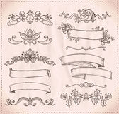 Hand-drawn graphic line elements for scrabooking, love and wedding theme. Stock Photography