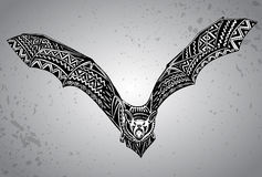Hand drawn graphic ornate bat. Royalty Free Stock Images