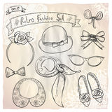 Hand drawn graphic retro fashion collection. Stock Images