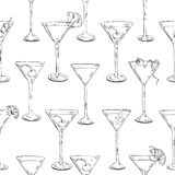 Hand drawn graphic seamless pattern cocktails with fruits and berries Stock Images