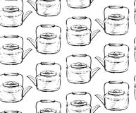 Hand drawn graphic seamless pattern with teapots in black and white colors.Tea ceremony concept.Design for tea shop Royalty Free Stock Image