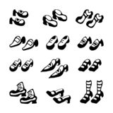 Hand drawn graphic set of the traditional stylized shoes. stock illustration