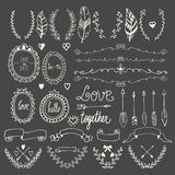 Hand drawn graphic set. Wedding set of arrows, laurel, wreaths, Stock Photos