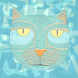 Hand drawn graphic vector of a cat. Unique art illustration for Stock Photography