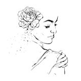 Hand drawn graphic vector ink brush painted textured woman feminine figure with flower in hair illustration isolated on. White background.Design element for Stock Photo