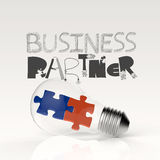 Hand drawn graphic word BUSINESS PARTNER and 3d light bulb. Puzzle as concept Stock Images