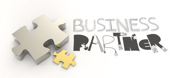 Hand drawn graphic word BUSINESS PARTNER Royalty Free Stock Photography