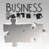 Hand drawn graphic word BUSINESS PARTNER. And 3d puzzle as concept Stock Image