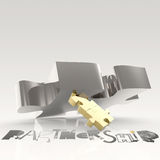 Hand drawn graphic word BUSINESS PARTNER. And 3d puzzle as concept Stock Photo