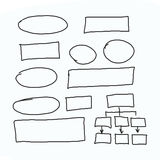 Hand drawn graphics or diagram symbols to input information conc Royalty Free Stock Images