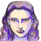 Hand-drawn graphics fashion portrait with beautiful young woman, inviting girl, top model. Royalty Free Stock Photos