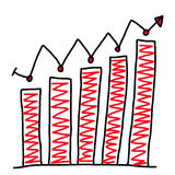 Hand drawn a graphics graph to top point growing data to concept. Of profit in business on white background Stock Photo