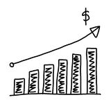 Hand drawn a graphics graph to top point growing data to concept. Of profit in business on white background Royalty Free Stock Photography