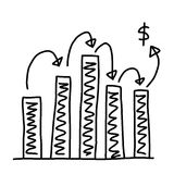Hand drawn a graphics graph to top point growing data to concept. Of profit in business on white background Royalty Free Stock Image