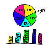 Hand drawn a graphics graph to top point growing data to concept Stock Images