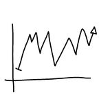 Hand drawn a graphics graph to top point growing data to concept Royalty Free Stock Photo