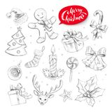 Graphite pencil collection of Christmas objects. Hand drawn graphite pencil collection of Christmas objects Stock Photo