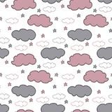 Hand drawn gray and pink clouds and stars on white background. royalty free illustration