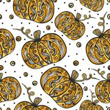Decorative pumpkin seamless pattern. Ornament elements. Detailed illustration. Hand drawn. Great for fabric and textile, prints, invitation, packaging, or any vector illustration