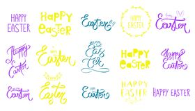 Hand drawn great Set of Happy Easter day sign. Big collection of green, violet yellow purple hand sketched. Easter bunny icon royalty free illustration