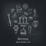 Hand drawn greece travel collection of icons Stock Photography