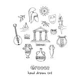 Hand drawn greece travel collection of icons Royalty Free Stock Images