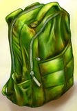 Hand drawn green backpack. Hand drawn pencil sketch of a backpack colored green Royalty Free Stock Photo