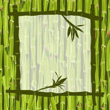 Hand-drawn green bamboo frame bacground with space for text Stock Image