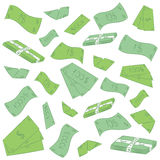 Hand Drawn Green Banknotes. Doodle Money Rain. Flat Drawings of Cash Royalty Free Stock Photos