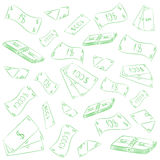 Hand Drawn Green Banknotes. Doodle Money Rain. Scribble Drawings of Cash Stock Photos