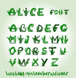 Hand drawn green font in vector format Stock Images