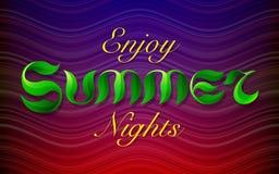 Hand drawn green leafs text ENJOY SUMMER NIGHTS Royalty Free Stock Photo