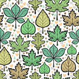 Hand drawn green leaves seamless pattern Royalty Free Stock Images