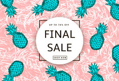 Hand drawn green pineapples on the pink abstract background. Fin. Al Sale banner, poster. Vector illustration Royalty Free Stock Photo