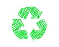 Hand Drawn Recycle Symbol. Hand drawn green recycle symbol on white background Stock Images