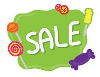 Hand drawn Green Sale banner with candies on white background royalty free illustration